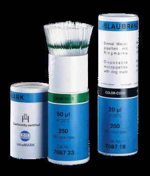 Micropipetas Blaubrand IntraMARK Desechables - Certificadas, con Aforo -